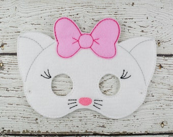 Marie Kitty  Children's Felt Mask  - Costume - Theater - Dress Up - Halloween - Face Mask - Pretend Play - Party Favor