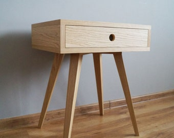 Nightstand, bedside table, side table with one drawer - scandinavian style