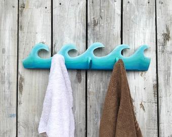 Wave Towel Rack, Coat or Key Rack Beach Decor, Hand Carved, Surf Decor, Bathroom Rack, Wave Ocean Decor, Pool, Beach House Cottage