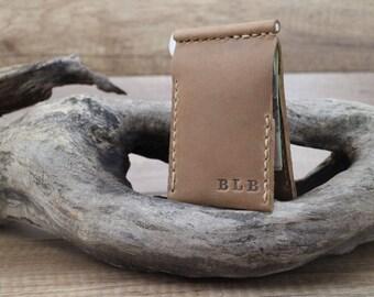 Valentine's Day, money clip wallet, leather money clip wallet, brown money wallet, handmade clip wallet, leather wallet,  biffold wallet