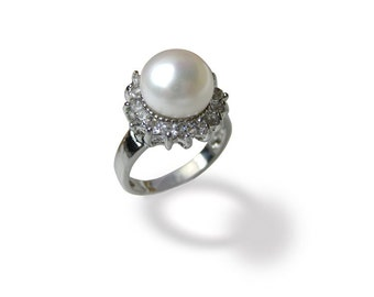 10mm AAA White Freshwater Pearl Ring - Various sizes -rg40