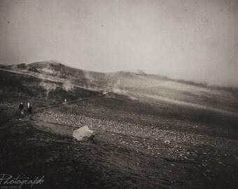 "Fine Art Photography, Dark Soul, Haunting Mountains, Wall Decor, Nature Art, Fog, Gloomy- ""Fog Town II"""
