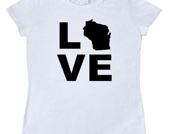 Love Wisconsin Women's T-Shirt by Inktastic
