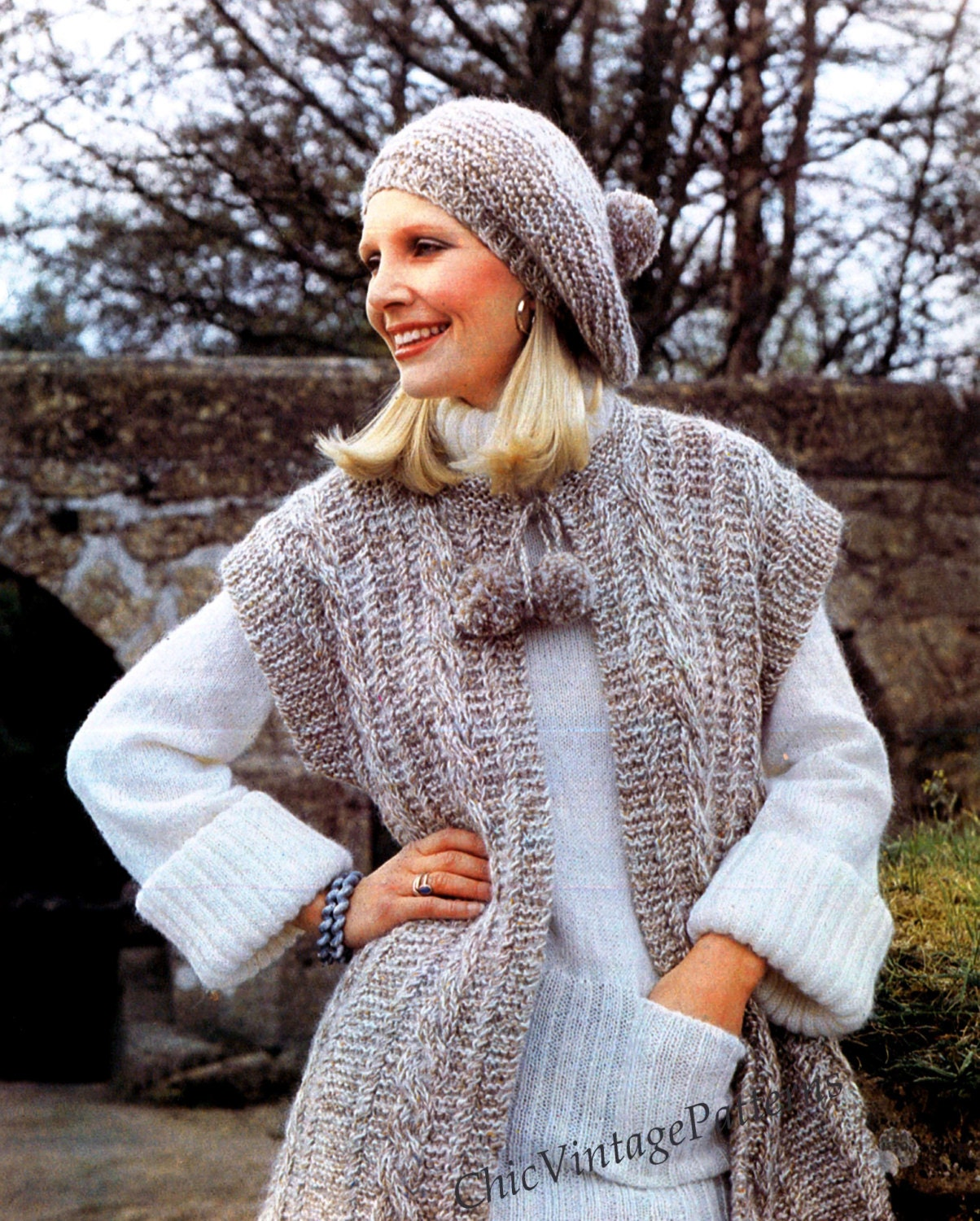 Loose Beret Knitting Pattern : Knitted Jacket and Beret ... Ladies Gilet ... PDf Knitting Pattern ... Stylis...