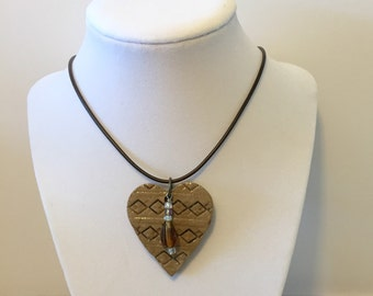 Heart Pendant Stoneware Pottery One of a Kind Heart Pendent Necklace with  Glass Beads