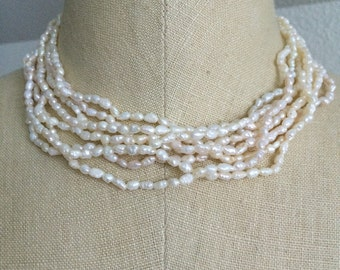 """Freshwater Pearl Mulit-Strand Necklace/ Chocker with 14 k gold clasp 16"""""""