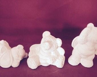 Ceramic Bisque 3pc Bumble Bear set- ready to paint