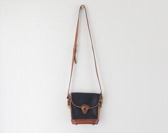 Vintage 1980s Black Dooney And Bourke Purse // Black Leather Cross Body Purse // Dooney Shoulder Bag // Leather Cross Body Bag