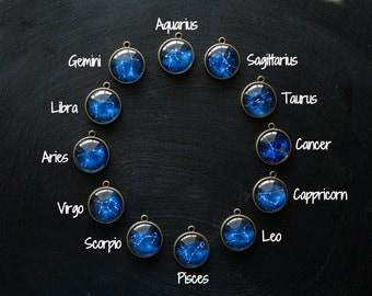 Zodiac Constellation Necklace, Zodiac Necklace, Zodiac Jewelry, Space Jewelry, Birthday Jewelry, Blue