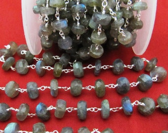 Wholesale Labradorite Rosary Chain, 5 to 6mm Labradorite Wire Wrapped Bead Chain- Handmade Gemstone Chain Semi Precious Sold per FOOT