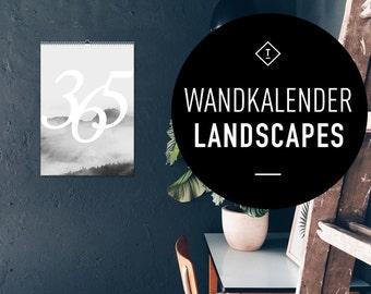 Wandkalender 2017 Landscapes / Calendar, Year, Scandinavian, Black and White, Puristic, Artprints