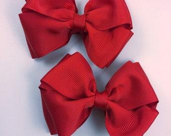 Red piggy hair bow set