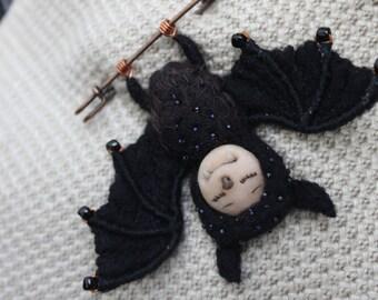 """Felt brooch """"Cute bat"""", wool felted brooch, magic animal"""