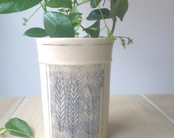 Decorated Ceramic Vase - Utensil Holder - Folwer Vase