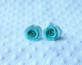Polymer clay Rose STERLING SILVER Earrings Studs, Hand Made Jewelry, Hand Made Earrings