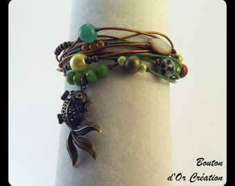 Multi-stranded green and bronze leather bracelet