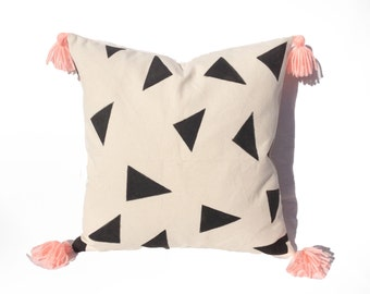 Pillow, White, Black Triangles Details, Pink Tassels,Square Decorative Pillow Case, Zipper