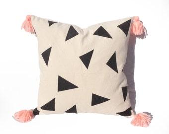 Pillow, White, Black Triangles Details, Pink Tassels,Square Decorative Pillow Case, Zipper