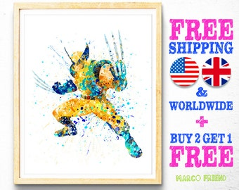 X-Men Superhero Wolverine Watercolor Art Poster Print - Wall Art - Home Decor - Watercolor Painting - Kids Decor - Christmas Gifts - 53