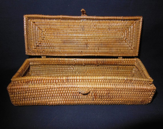 Handmade Small Baskets : Handmade basket box for small items attached lid indonesia
