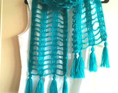 Crochet lacy scarf / spring scarf / mesh scarf / turquoise lacy scarf