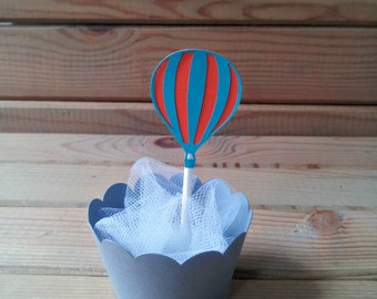 Hot Air Balloon Cupcake Toppers - up up & away party - party supplies - cake decorations - first birthday - boys birthday