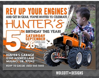 Chevy Monster Truck, Monster Truck Invitation, Monster Jam, Truck Birthday, Truck Invitation, Chevy Truck, 4x4 party