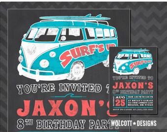 Beach Party Invitation, Summer Party, Surf's Up Birthday Invitation, Surfing Invitations, VW Bus Birthday Invite, Volkswagen Invite