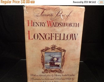 Super Sale Book-Favorite Poems of Henry Wadsworth Longfellow published 1947-Vintage book of Poems