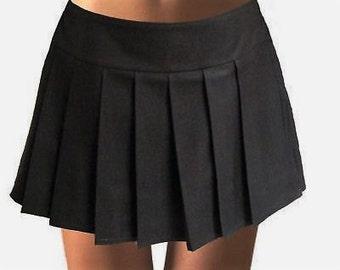 Solid Black Pleated Skirt~Black Skirt Tennis Skirt~Cosplay Black Skirt~Custom make School Girl Uniform Skirt~Small to Plus size@sohoskirts