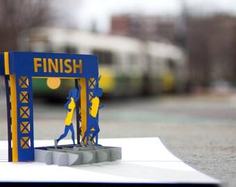 Running Pop Up Card, Marathon Pop Up Card, Runners Pop Up Card, Running Marathon Card, Boston Marathon, Running Shoes, Finish Line