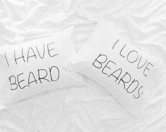 Couple Pillowcases anniversary gift his and hers pillows Mr and Mrs, I love beards, couple gift, beard pillow, gift idea, gif for him her