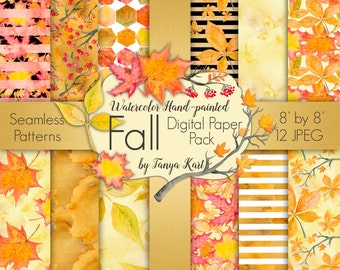 Autumn Digital Paper Pack Fall Seamless Patterns Watercolor Hand-painted Digital Paper Scrapbooking watercolor paper