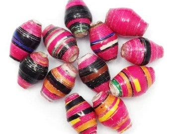 12 paper beads, mini, pink stripes, 9mm, paper recycled, Africa, recycling, stripes, cone