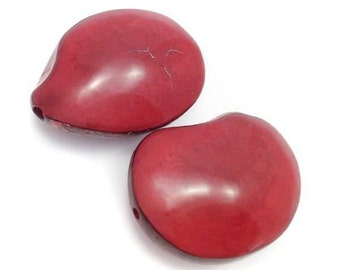 Tagua Nut, flattened red, double-sided, 42 mm, 1 PCs