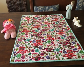 Stroller/Car Seat quilt colorful owls