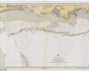 Mississippi Sound Map - Dauphin Island to Cat Island - Historical Chart 1933