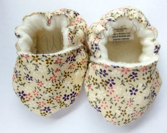 Baby Booties, Soft Sole Baby Shoes, Crib Shoes, Floral Baby Booties
