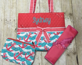monogrammed diaper bag 3 piece set personalized coral anchor