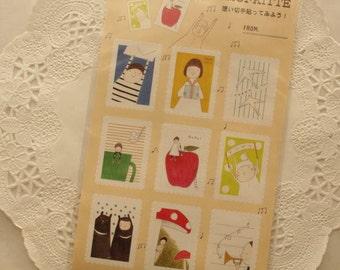 Japanese cute sticker sheet - stamp shaped - omoi kitte