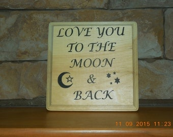 Moon and back wood plaque