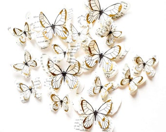 White and gold butterflies, butterfly wall decoration, personalized wedding decorations, custom ceremony decoration