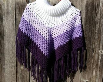 Crochet Cowl Neck Poncho