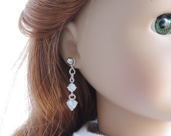 Sparkly Silver Drop Heart Earrings for American Girl Dolls