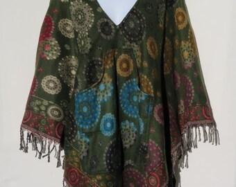 Poncho Hoodie Tassels Fringe Boho Bohemian 60s Designer Hippie HandmadeHimalayan Handloomed Yak Wool Blend Shawl Multicolored 1 Size 1970