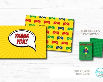 Super Hero Comic Book Thank You Note Cards - Matches Invitations!