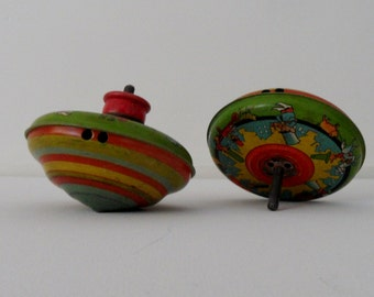 Vintage Tin Tops Spinning Metal Toy 1950s