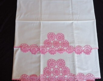 Pink Crocheted Shabby Vintage 1950's White Cotton Matching Pillowcases