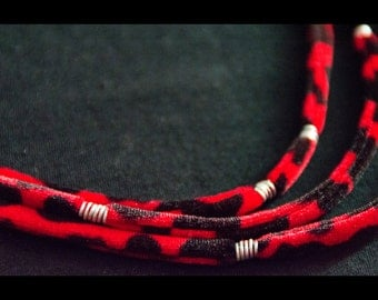 Velvet lycra necklace. Statement layered necklace. Red and black. Spotted necklace.