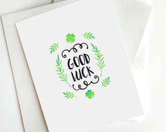 Good Luck Card,St. Patrick's day,Printable St. Patrick's,card,Four Leaf Clover Card,Digital Good Luck,Instant download,Green clover card